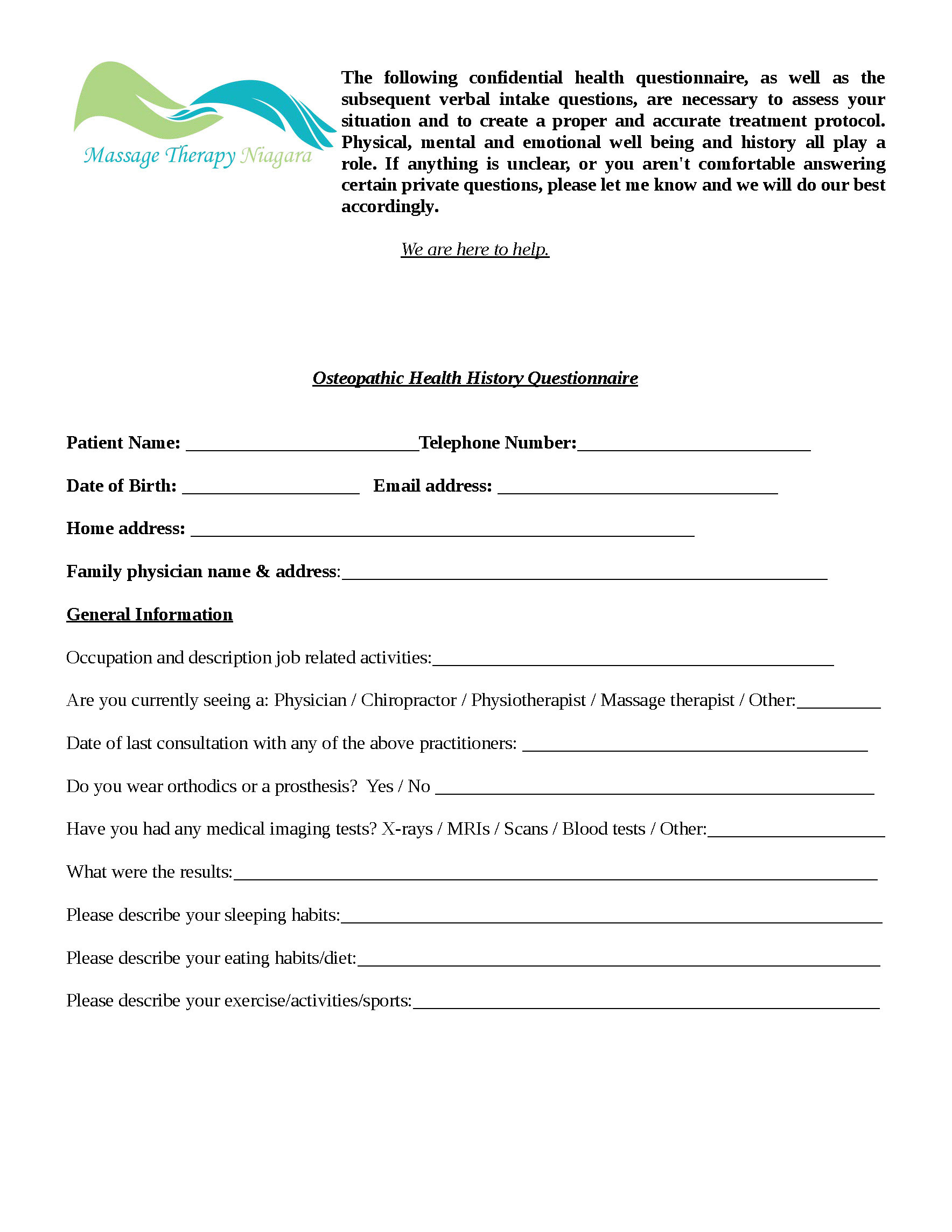 Osteopathy Intake Form